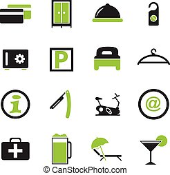 Hotel room icons set