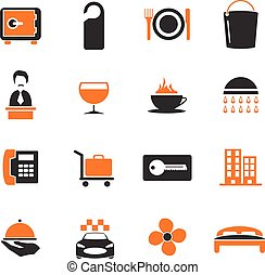 Hotel room icons set