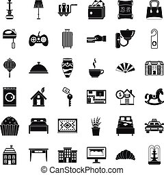 Hotel room icons set, simple style
