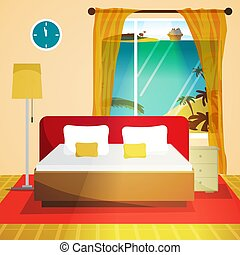 Hotel room interior. Bedroom house interior with bed and window with view beach landscape. Flat vector cartoon illustration