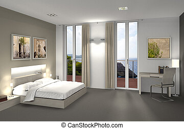 hotel room interior - fictitious 3D rendering of a bedroom...