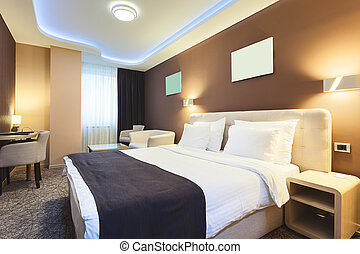 Hotel Room - Interior of a hotel room for two persons. ...
