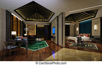 Hotel Room Interior - Photorealistic 3d rendering of the...