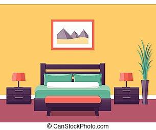 Hotel room interior. Vector illustration.