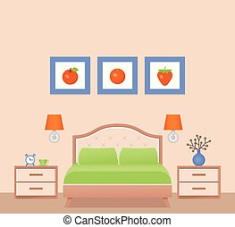 Hotel room interior with bed, bedroom. Vector Illustration.