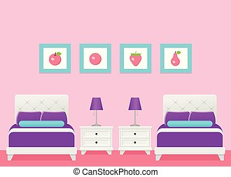 Hotel room interior with two beds, bedroom. Vector Illustration.