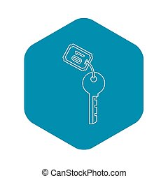 Hotel room key icon, outline style
