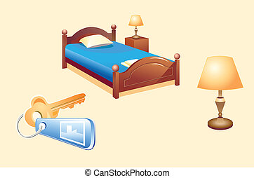 Hotel room objects - Classic hotel room objects (bed, lamp,...