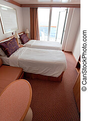 hotel room on cruise liner - two bed room