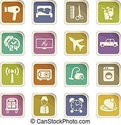hotel room service icon set - hotel room service vector ...