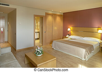 Hotel room with bed and bathroom