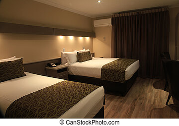 Hotel Room with Bed Interior Design at Night
