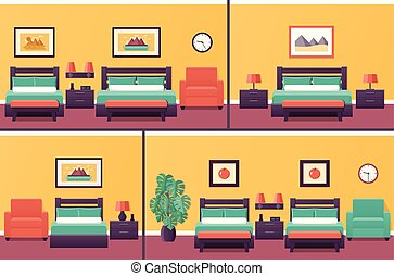 Hotel rooms interiors. Bedroom in flat design with bed. Vector.