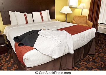 hotel, ropa, habitación, cama