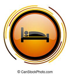 hotel round design orange glossy web icon