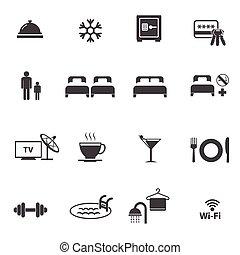 hotel, sæt, iconerne