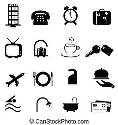 hotel, símbolos, ícone, jogo