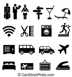 hotel, satz, ikone