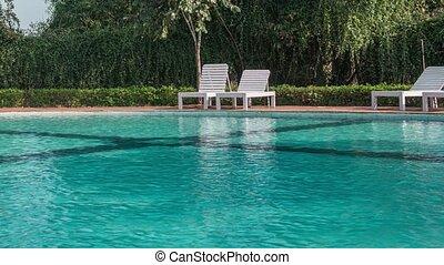 hotel, schwimmbad, mit, sonnig, reflexionen