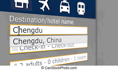 Hotel search in Chengdu on some booking site. Travel to China related 3D rendering