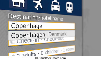 Hotel search in Copenhagen on some booking site. Travel to Denmark related 3D rendering