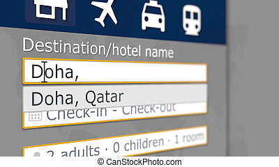 Hotel search in Doha on some booking site. Travel to Qatar related 3D rendering