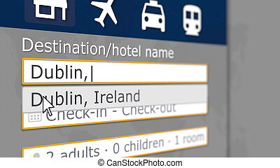 Hotel search in Dublin on some booking site. Travel to Ireland related 3D rendering