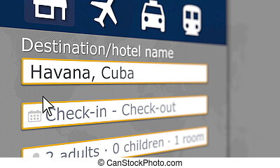 Hotel search in Havana on some booking site. Travel to Cuba related 3D rendering