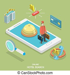 Hotel search online flat isometric vector concept.
