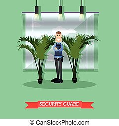 Hotel security guard vector illustration in flat style -...