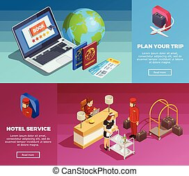 Hotel Service 2 Isometric Webpage Banners