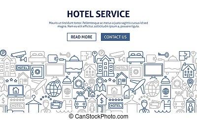 Hotel Service Banner Design. Vector Illustration of Outline ...