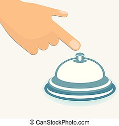 Hotel service bell - Human hand with the index finger ...
