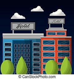 hotel service building exterior facade architecture ...