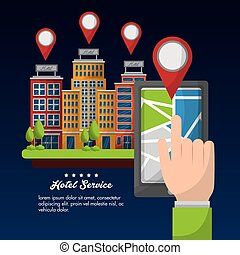 hotel service building - hotel service hand with smartphone ...