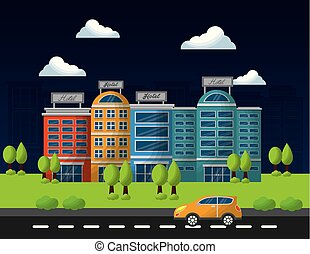 hotel service buildings street tree and taxi car vector ...