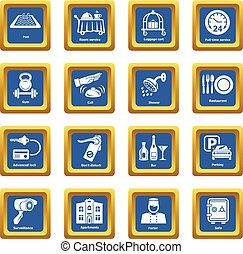 Hotel service icons set blue square vector
