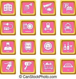 Hotel service icons set pink square vector