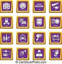 Hotel service icons set purple square vector
