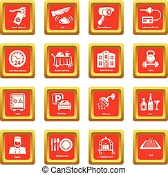 Hotel service icons set red square vector