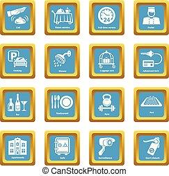 Hotel service icons set sapphirine square vector