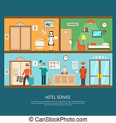 Hotel service illustration - Hotel service concept with room...