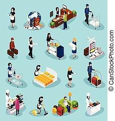 Hotel Service Isometric Icon Set