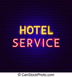 Hotel Service Neon Text. Vector Illustration of Business ...