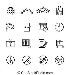 Hotel service, Simple thin line hotel icons set, Vector icon design