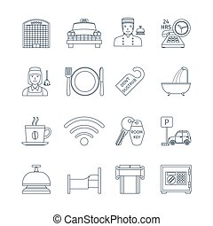 Hotel Service Thin Line Icons