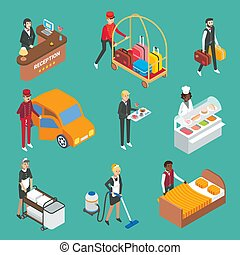 Hotel service workers vector flat isometric icon set