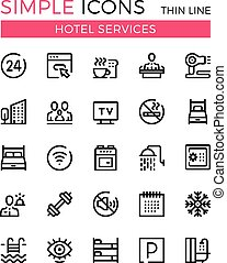 Hotel services and hotel facilities vector thin line icons set. 32x32 px. Modern line graphic design concepts for websites, web design, mobile app, infographics. Pixel perfect vector outline icons set