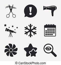 Hotel services icon. Air conditioning, Hairdryer. - Hotel...