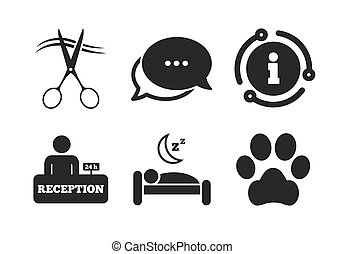 Hotel services icon. Pets allowed, hairdresser. Vector